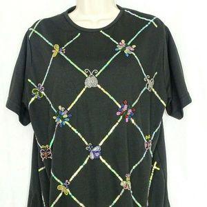 The Quacker Factory Shirt Stretch Knit Top Beaded